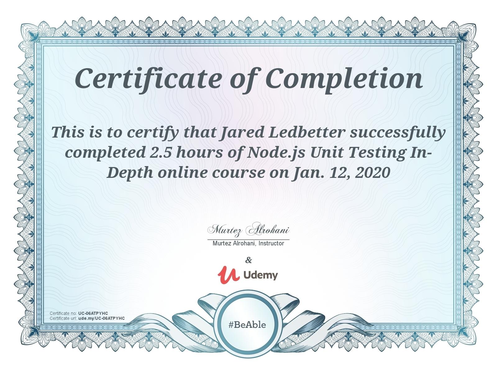 Node.js Unit Testing Cert [Udemy] 20200112