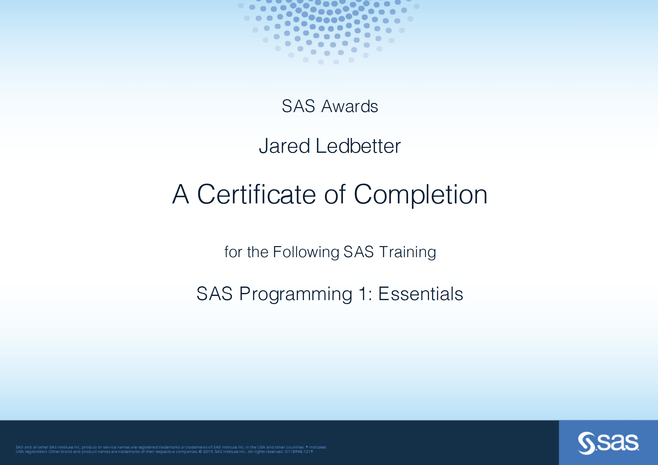 SAS Programming 1 - Essentials Cert 20200519