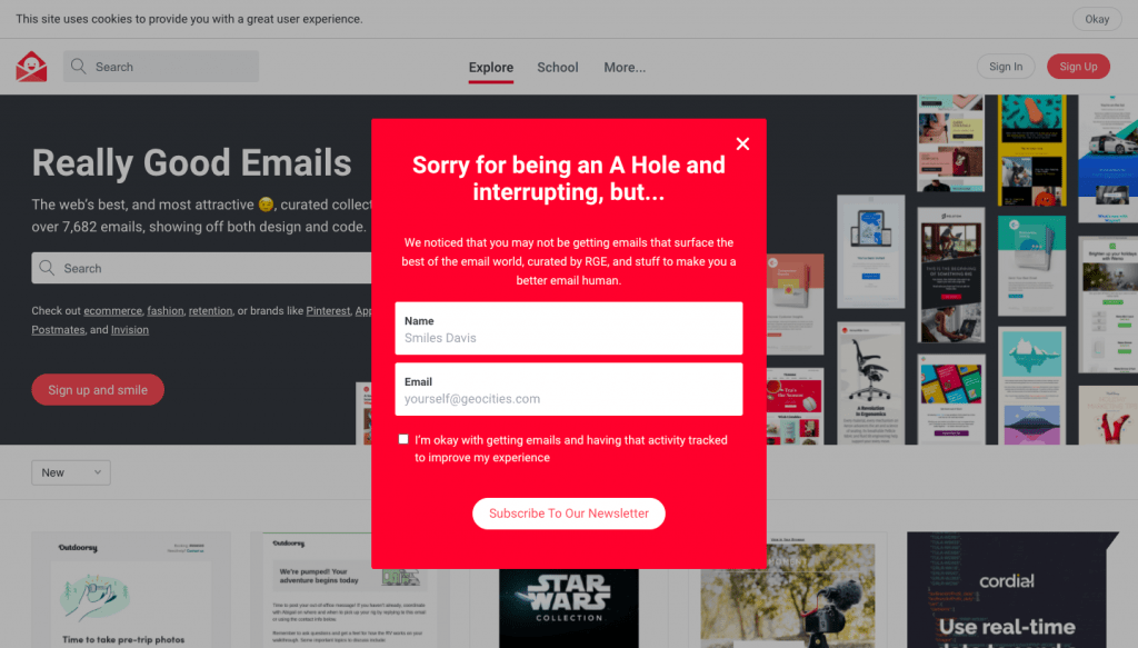 Email signup in the popup or modal